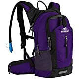 RUPUMPACK Insulated Hydration Backpack Pack with 2.5L BPA Free Bladder - Keeps Liquid Cool up to 4 Hours, Lightweight Daypack Water Backpack for Hiking Running Cycling Camping, 18L (Purple)