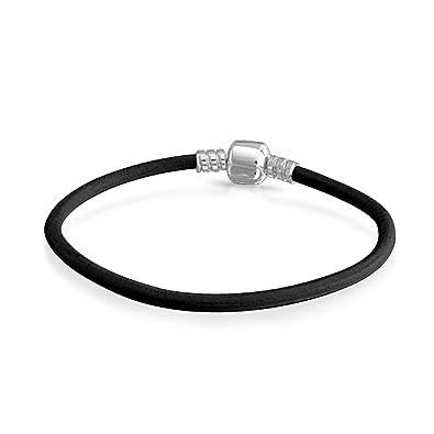 Amazon Com Black Leather 925 Sterling Silver Barrel Clasp Bracelet
