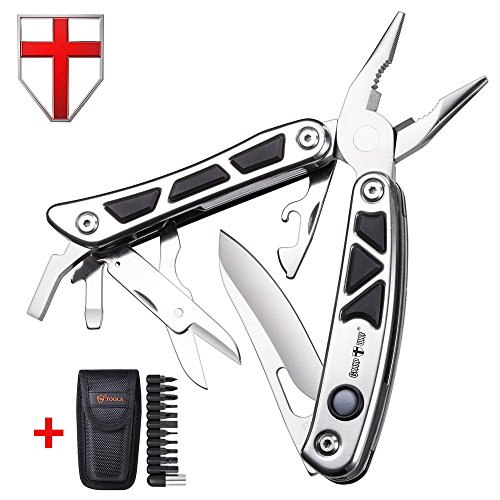 Multitool with Knife, Pliers and 2 Flashlights - Utility Black Tool with Bits - Big Heavy Multi-Purpose Tool Kit - EDC Multi Function Portable Universal Mini Tool for Travel - Grand Way 2086 by Grand Way