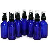 12 New, High Quality, 2 oz Cobalt Blue Glass Bottles, with Black Fine Mist Sprayers