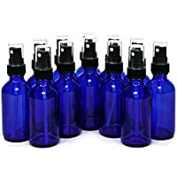 12, Cobalt Blue, 2 oz Glass Bottles, with Black Fine Mist Sprayers