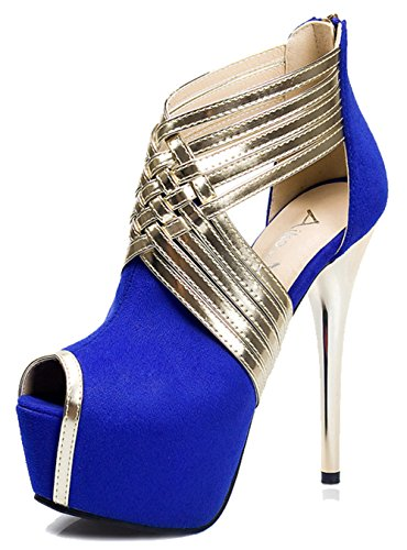Aisun Women's Sexy Faux Suede Contrasting Color Strappy Zipper Platform Stiletto High Heel Sandals Blue 75mzjvYifD
