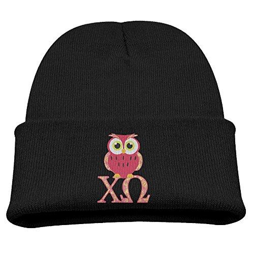 Chi Omega Owl Girls Warm Classic Black Skull Hat Beanies Cap ()