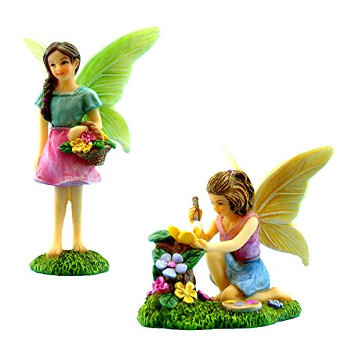 PRETMANNS Fairy Garden Fairies - Miniature Accessories - 2 Garden Fairies - Fairy Garden Supplies - Miniature Fairy Gardens