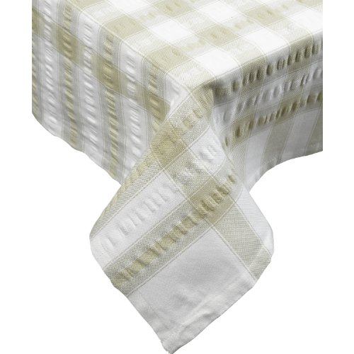 "(Seersucker Square Checked Tablecloth Cotton Check Downview Table Linen 36"" x 36"" (Natural))"