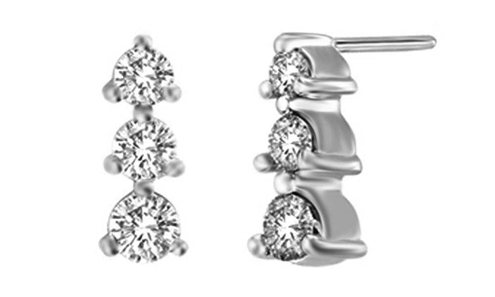 Weißszlig; natürlicher Diamant Drei Stein Ohrringe in Tropfenform 14 ct 585 Weißszlig; Gold massiv (0,5 Karat) 14 Karat (585) WeißGold