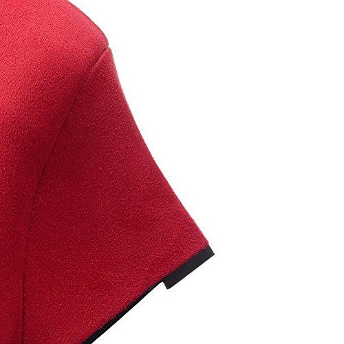 AllhqFashion Mujeres Sin cordones Puntera en Punta Cerrada Plataforma Cuña Dos tonos De salón Rojo