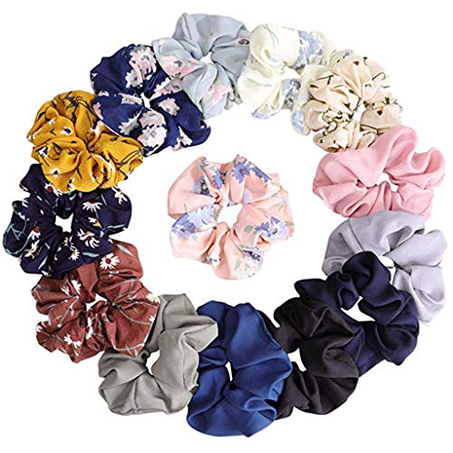 m·kvfa Hair Chiffon Elastics Hair Ties 14 Pack Bright Colorful Bobbles Bands Hair Scrunchies Flowers Scrunchy Hair Ties Ropes Ponytail Holder for Woman Girls