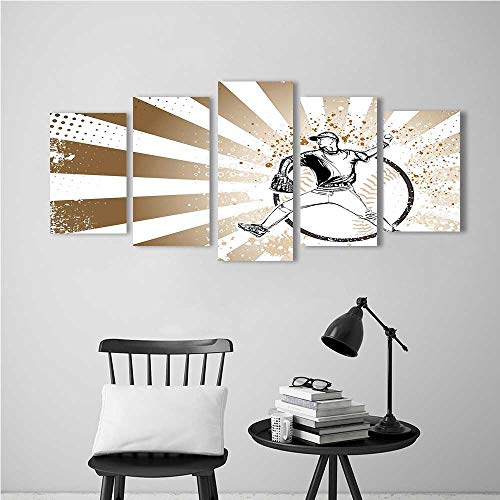 Wall Art for Living Room Decor 5 Piece Set Frameless Sportsof Baseball Player on Distressed Muddy Striped Pop Art Brown White for Home Modern Decoration Print Decor