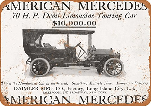 Wall-Color 9 x 12 METAL SIGN - 1907 Daimler American Mercedes - Vintage Look Reproduction
