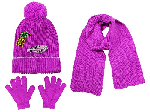 S.W.A.K Girls Knit Hat, Scarf And Gloves Set- Pink