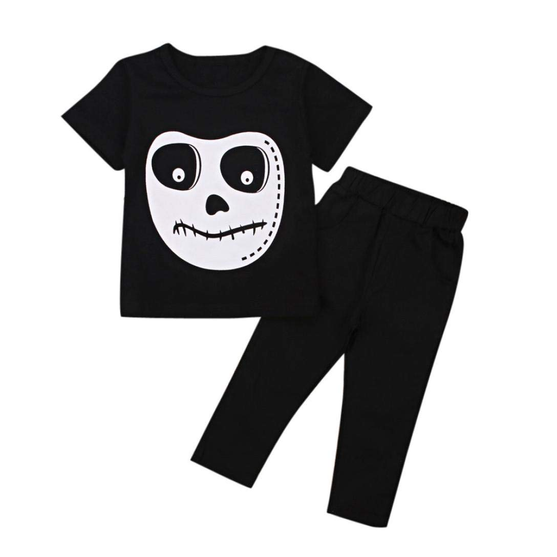 Little Kids Halloween Sets,Jchen(TM) Toddler Baby Little Boys Girls Skull Print Tops Pants Halloween Costume Outfits for 0-4 Years Old (Age: 18-24 Months)