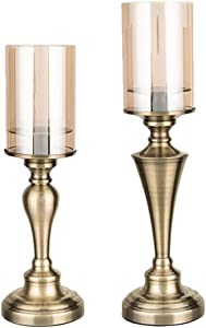 Hurricane Candle Holders for Pillar Candles, Pillar Candle Holders Set of 2, Table Centerpieces, Dining Table Decor, Ideal for 3'' Pillar Candles and LED Candles, Metal Base With Hurricane Glass Cover