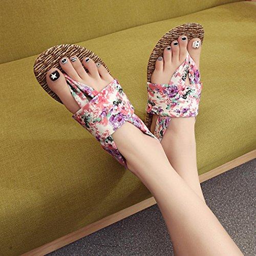 Deesee (tm) Femmes Sandales Dété Chaussures Peep-toe Chaussures Basses Sandales Romaines Dames Flip Flops Violet