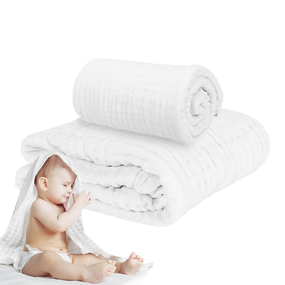 Muslin Baby Towel Super Soft Cotton Baby Bath Towel 6 Layers Infant Towel Newborn Towel Blanket Suitable for Baby's Delicate Skin 40 x 40inches White by Fook Fish
