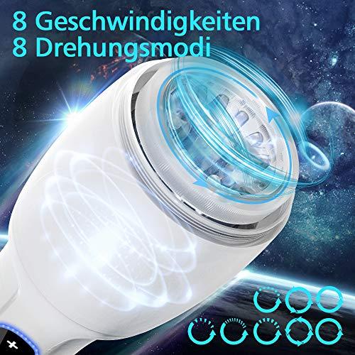 Automatische Masturbator Cup Elektrische Masturbieren Mann mit 360° Rotation Masturbatoren mit 3D Vagina Sexspielzeug für Männer Silikon Erotik mit 8 Drehungsmodi Touch- Taste Fondlove
