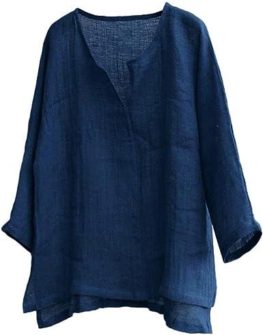 JURTEE Camiseta para Hombre Algodón Lino Blusa Cuello En V Solid ...
