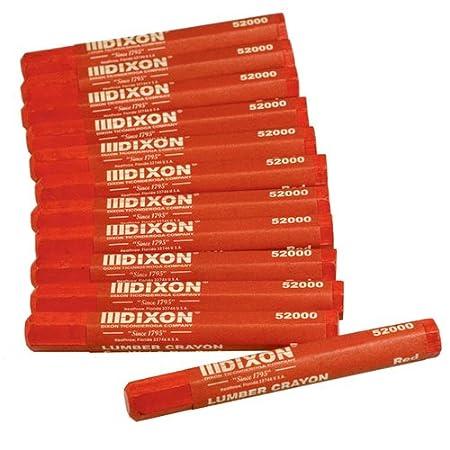 Dixon 52000 Lumber Marking Crayons, Red, 12-Pack Bon Tool