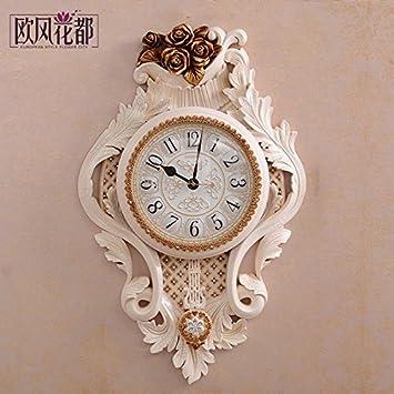 Relojes Clásicos Salón Creativa Reloj De Pared Garden Deluxe Continental Muro De Silencio Gráficos Personalizados Reloj Art Deco: Amazon.es: Hogar