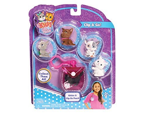 Bitty Kitty (Kitty In My Pocket Kitties & Pink Clip On Pouch - 5 Kitties Included)