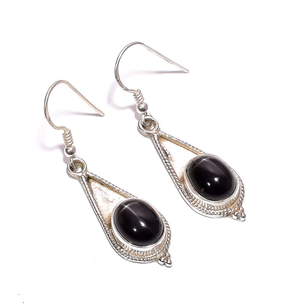 Mughal Gems /& Jewellery 925 Sterling Silver Earrings Stud Natural Star Obsidian Gemstone Earring for Women