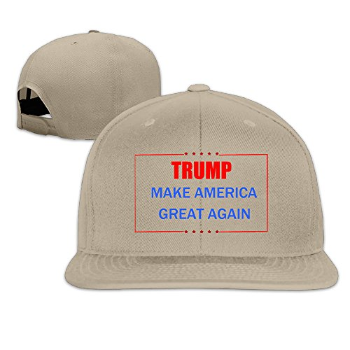 Unisex Trump Make America Great Again Adjustable Snapback Trucker Hat 100%cotton Natural One Size