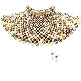 Egyptian Pearl Armor Bib Choker Chain Style Statement Necklace and Pearl Earrings Set (Multi/Gray Cream Gold)