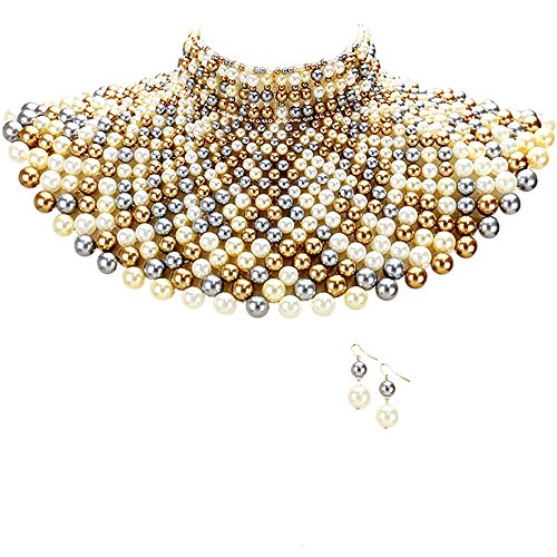 Egyptian Pearl Armor Bib Choker Chain Style Statement Necklace and Pearl Earrings Set (Multi/Gray Cream ()