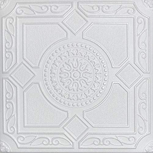 White Styrofoam Ceiling Tile Lima (Package of 8 Tiles) - Other Sellers Call This Kensington Gardense and R30 (Ceiling Tiles 20 X 20)