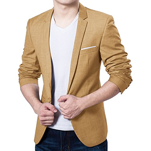 Pishon Men's Blazer Jacket Lightweight Casual Slim Fit One Button Sport Jackets, Khaki, TagsizeXXXL=USsizeM