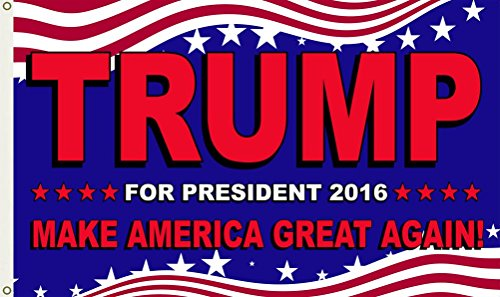 Shoe String King SSK Donald Trump for President 2016 Stars and Stripes Flag – Large 3′ x 5′, Weather-Resistant Polyester