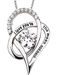 """Sterling Silver """"I love you to the moon and back"""" Cubic Zirconia Necklace Heart Pendant"""