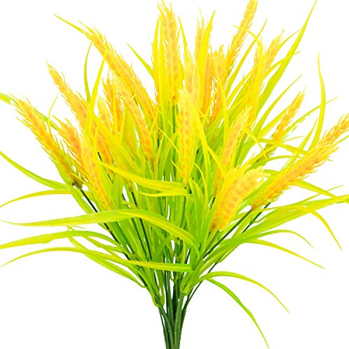 4pcs Artificial Golden Wheat Grass Fake Shrubs UV Resistant Faux Plants Faux Plastic Bushes Indoor Outdoor Home Office Garden Patio Yard Table Wedding Farmhouse Centerpieces Pot Decor (Golden)