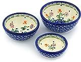 Polish Pottery Set of 3 Small Nesting Bowls Spring Flowers
