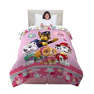 "Franco Kids Bedding Super Soft Reversible Comforter, Twin/Full Size 72"" x 86"", Paw Patrol Pink"