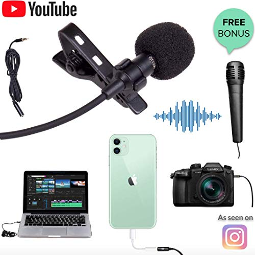 Premium HD Lavalier Mic for Best YouTube Audio - ANY Phone, iOS, Android, Samsung, Macbook or Camera, New iPhone 8 7 6 Plus, Samsung S8, S8+, iPad | Lapel Clip on Shirt Condenser Microphone