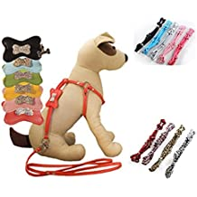 Pety Pet Designer Leather One-Piece Step-in Dog Harness and Leash Collar (Medium: Chest: 11inch- 22inch, Rose Red)