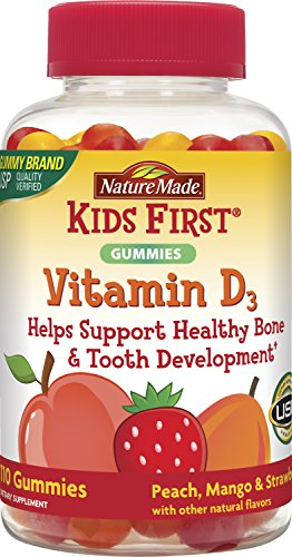 Nature Made Kids First Vitamin D Gummies, 110 Count, Peach/Mango/Strawberry (Best Vit D For Kids)