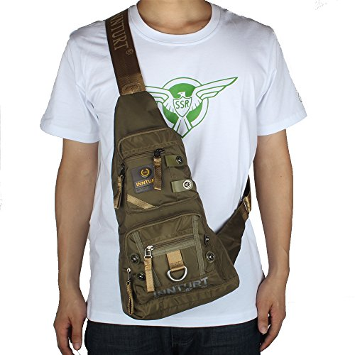 Innturt Nylon Sling Bag Daypack Travel Gym Backpack (S1-Army Green) by Innturt (Image #7)