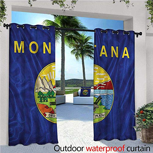 warmfamily American Exterior/Outside Curtains Montana Flag Mountains for Patio Light Block Heat Out Water Proof Drape W120 x L84