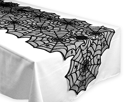 Moolecole 18'' x 72'' Polyester Black Lace Table Runner Halloween Spider Web Tablecloth Mat for Halloween Parties and Dinner Decor