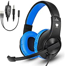 Greatever Stereo Gaming Headset PS4 Xbox One, Professional 3.5mm Bass Over-Ear Headphones Mic,Volume Control Laptop, PC, Mac, iPad, Computer, Smartphones, Blue