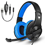 Cheap Greatever Stereo Gaming Headset for PS4 Xbox One, Professional 3.5mm Bass Over-Ear Headphones with Mic,Volume Control for Laptop, PC, Mac, iPad, Computer, Smartphones, Blue