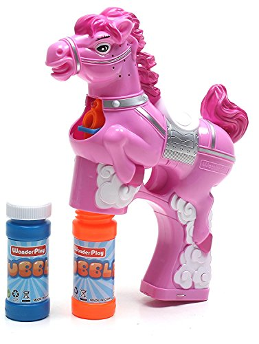 LilPals BUBBLE GUN SHOOTER – PAT THE PONY, PINK WITH LIGHT, SOUND and BUBBLE SOLUTION INCLUDED (FOR KIDS 3 YEARS OLD AND UP) (PINK)