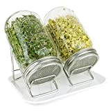 Pure Convenience Deluxe Sprouting System - Pure Glass and Stainless Steel Sprouting Stands, Jars & Tray - Organic Broccoli & Lentil Seeds - Dishwasher Safe - Super Easy - Lotus & Sky PCDLXWHT (White)