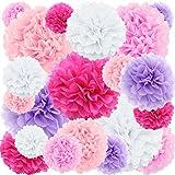 20 ct Tissue Paper Pom Poms Flowers - rose