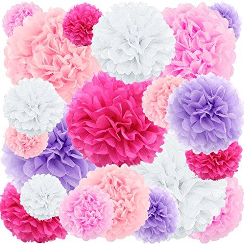 (20 ct Tissue Paper Pom Poms Flowers - rose)