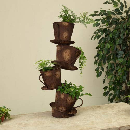 - GIL 2474630 25InH Stacking Cup Planter Spring 11.23InL x 7.29InW x 11.82InH Brown