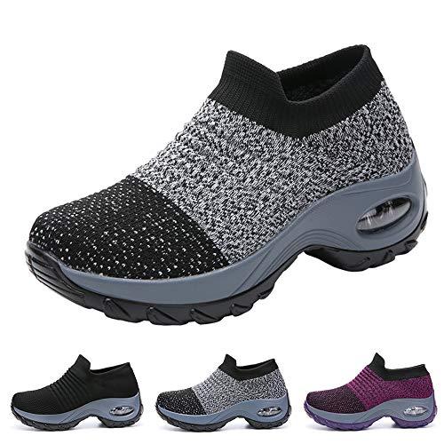 Funnie Women's Walking Shoes Sock Slip On Breathe Comfort Mesh Fashion Sneakers Air Cushion Lady Girls Modern Jazz Dance Shoes Platform Loafers Grey, -