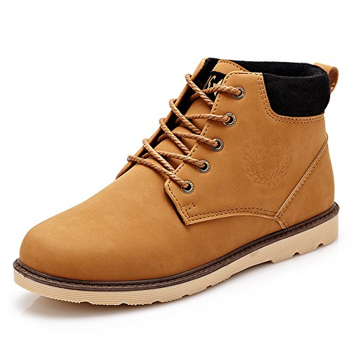 Yaheeda Men's High Top Casual PU Leather Lace-Up Work Shoes Martin boots